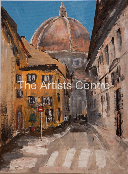 The Duomo of Santa Maria del Fiore in Tuscany Florence, Italy. Acrylic 30 cm x 40 cm by Lorna Markillie 2019 . Original and prints available