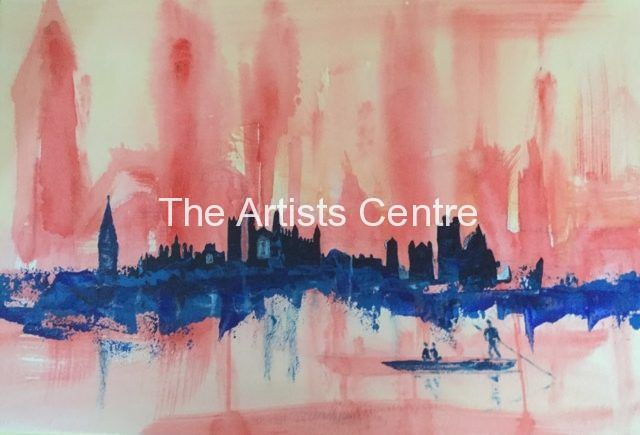 Abstract Watercolour of Cambridge  as a Cityscape and punter - by Lorna Markillie