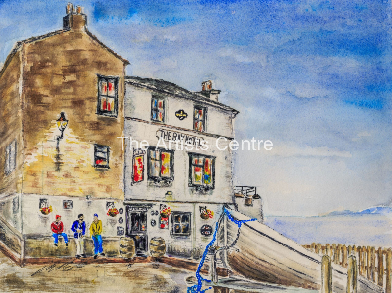 Robin Hoods Bay at the end of Wainwrights Coast to Coast Coast to Coast  walking route  Watercolour on Arches 300 g 140lb Original 12 inches by 16 inches by Lorna Markillie