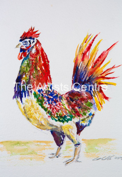 Proud Rooster watercolour by Lorna Markillie.. Prints available