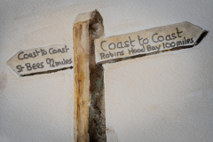 Coast to Coast signpost in Watercolour by Lorna markillie