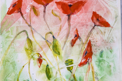 Poppies in watercolour 14 inches x 11 inches.   By Lorna Markillie