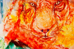 Abstract tiger in watercolour on yupo paper  Lorna Markillie. Prints available