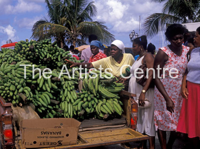 Local women buying bananas in St Martin Caribbean