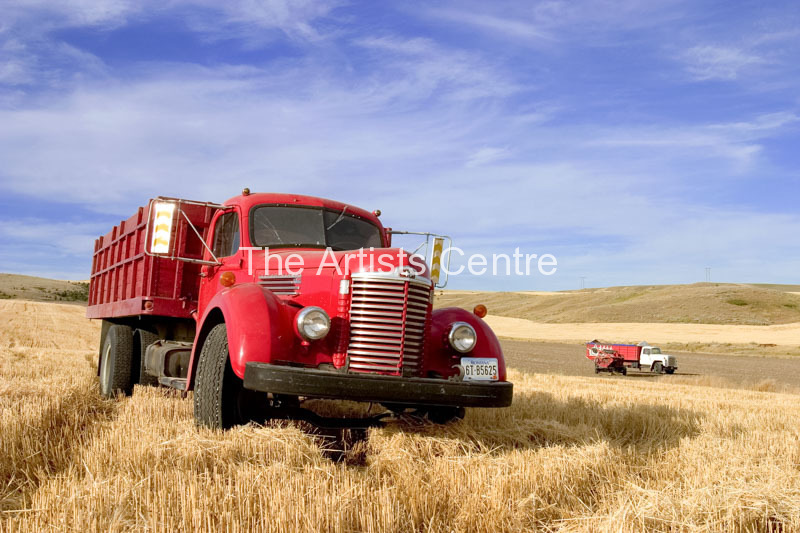 1940 s International KB-7 Harvester truck in a field in Montana USA