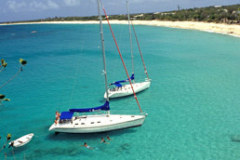 Yachts anchored in bay Saint Martin Caribbean