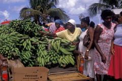 Local women buying bananas in St Martin Caribbean