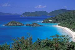 Overlooking crystal-clear Trunk Bay, St John, US Virgin Islands Caribbean